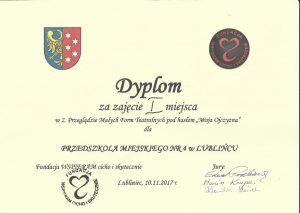 dyplom dla przedszkola I miejsce